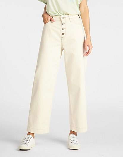 Button Thru Wide Leg in Eco Rinse