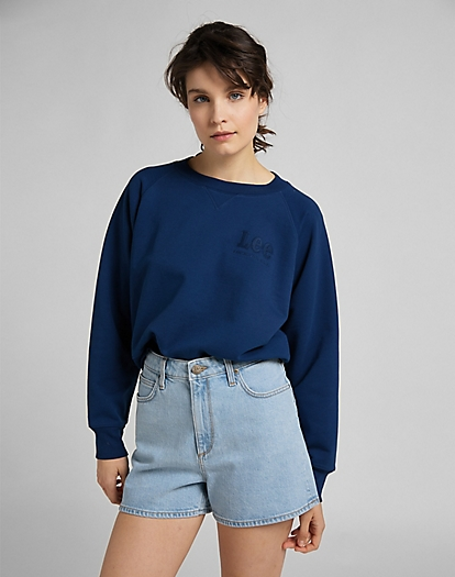 Vintage Cropped Sweatshirt in Washed Blue