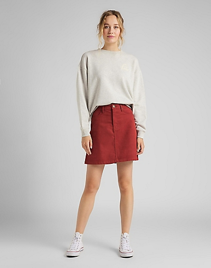 A Line Zip Skirt Corduroy in Red Ocre