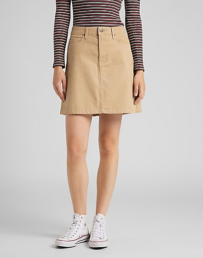 A Line Zip Skirt Corduroy in Cornstalk