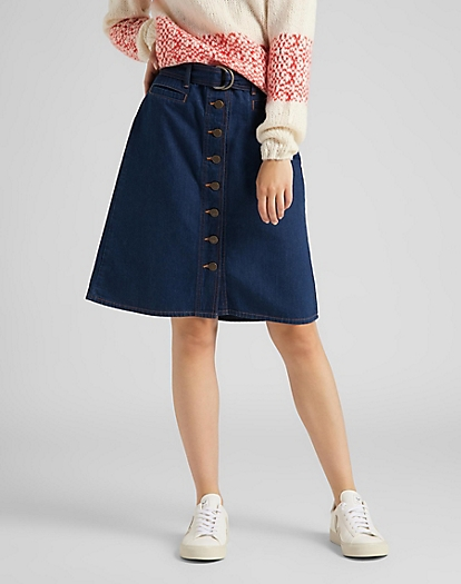Belted Skirt in Rinse