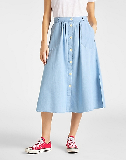 Chambray Skirt in Summer Blue