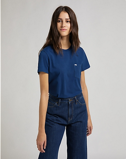 Relaxed Pocket Tee in Washed Blue