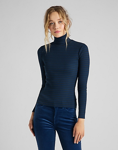 Long Sleeve Striped Rib Tee in Washed Blue