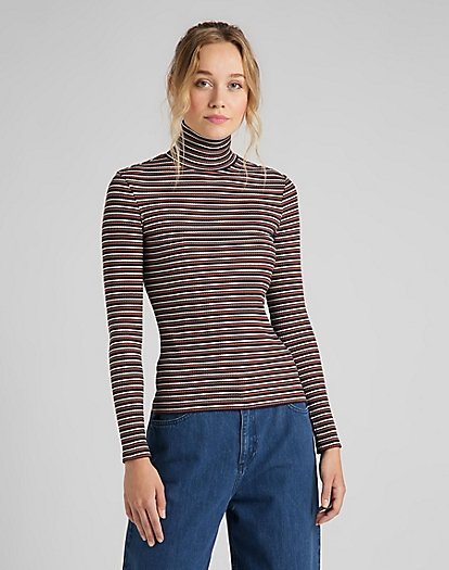 Long Sleeve Striped Rib Tee in Burnt Ocra