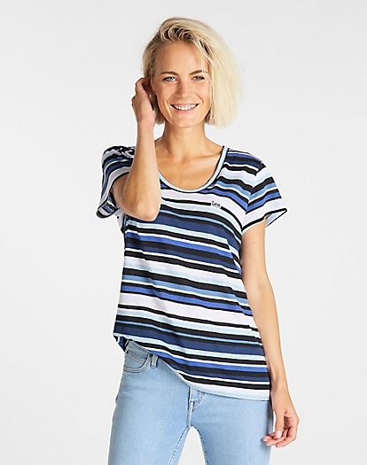 Scoop Neck Tee in Summer Blue