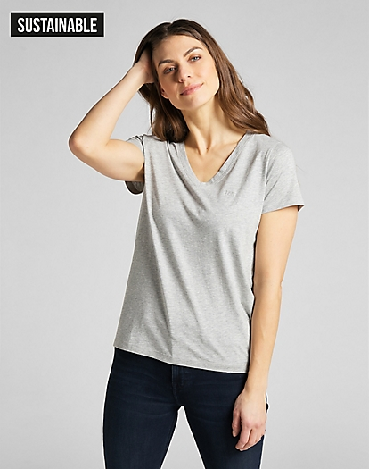 V Neck Tee in Grey Mele