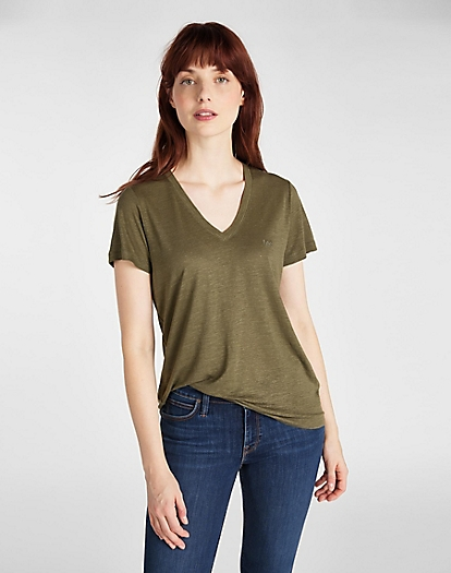 V Neck Tee in Olive Green