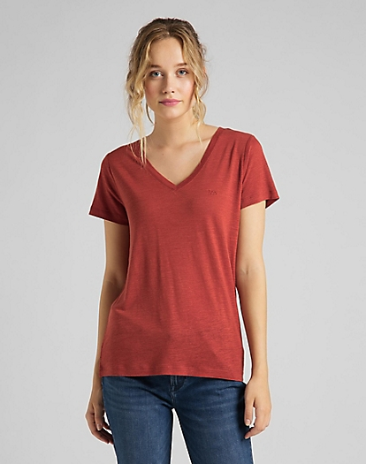 V Neck Tee in Red Ochre