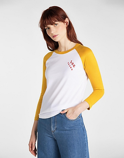 Raglan Ringer Tee in Golden Yellow