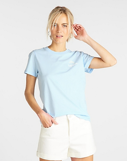 Regular Crew Neck Tee in Sky Blue