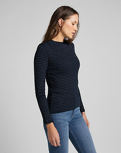 High Neck Rib Tee in Sky Captain