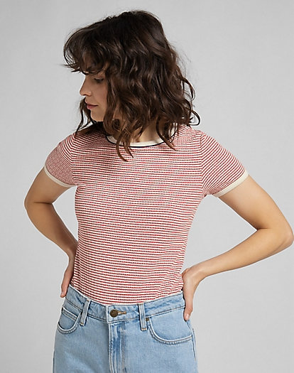 Striped Ribbed Tee in Aurora Red