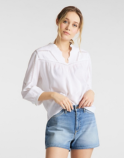 Blouse in White Canvas