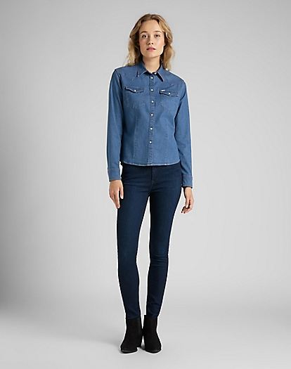Slim Western Shirt in Blueprint