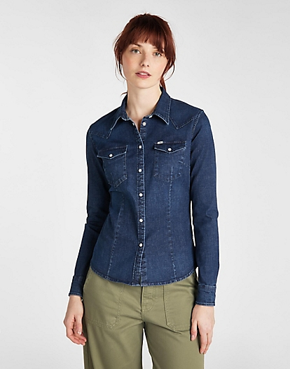 Slim Western Shirt in Washed Blue
