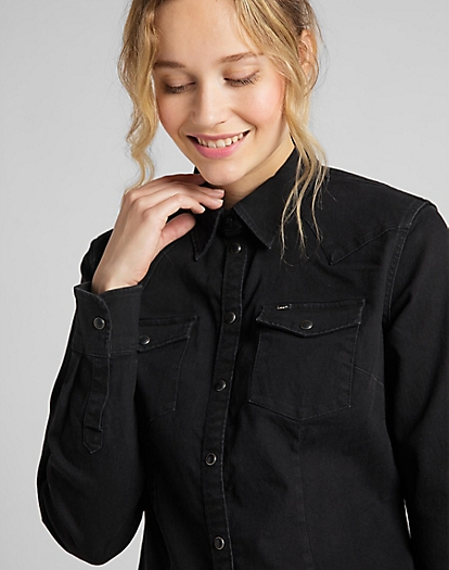 Slim Western Shirt in Black