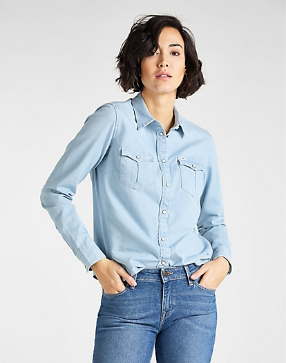 Regular Western Shirt in Summer Blue