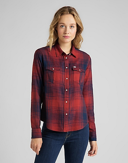 Regular Western Shirt in Red Ochre