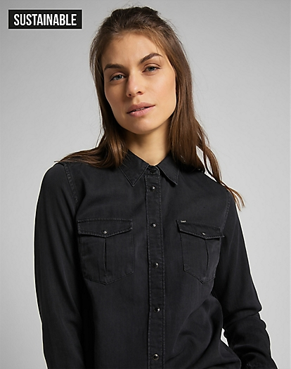 Regular Western Shirt in Black