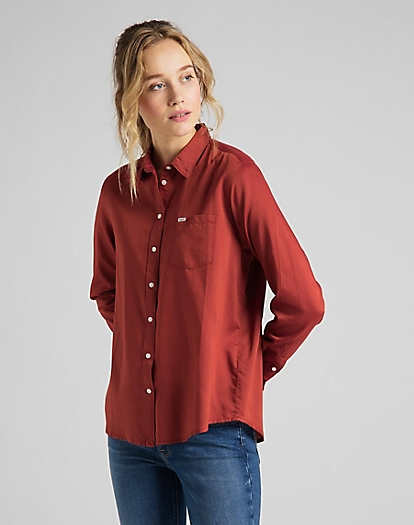 One Pocket Shirt in Red Ochre