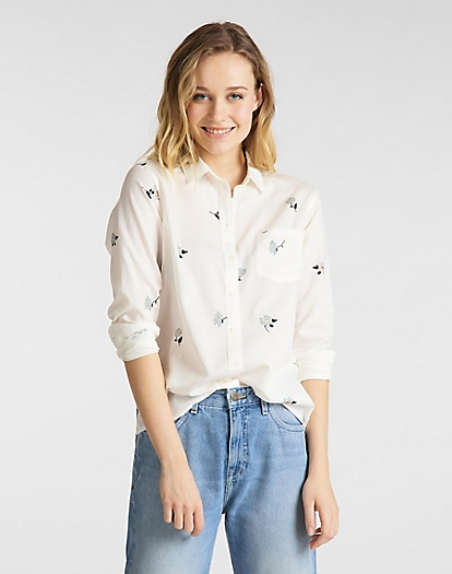 One Pocket Shirt in White Canvas