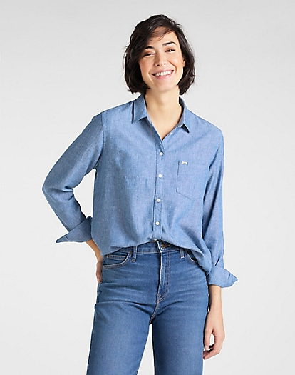 One Pocket Shirt in Washed Blue