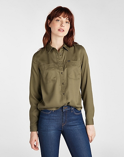 2 Pocket Work Shirt in Olive Green