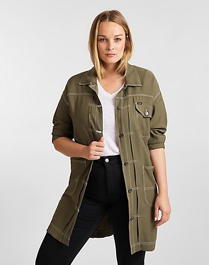 Elongated Duster Coat in Olive Green