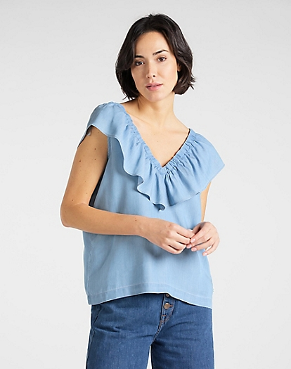 Ruffle Tank in Sky Blue