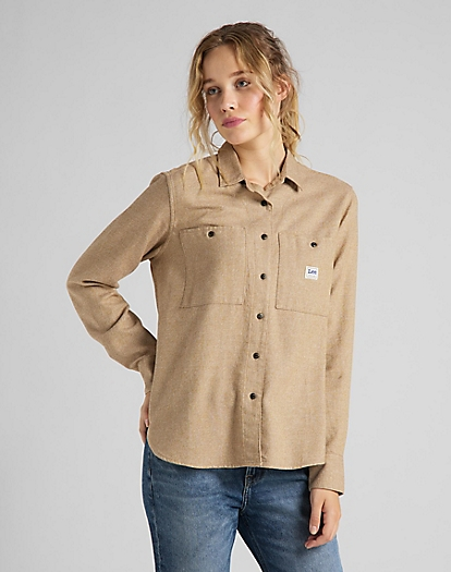 Feminine Worker Shirt in Bleached Sand