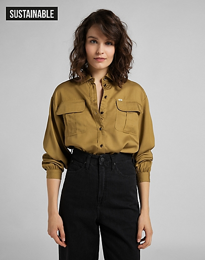 Box Pleat Shirt in Safari