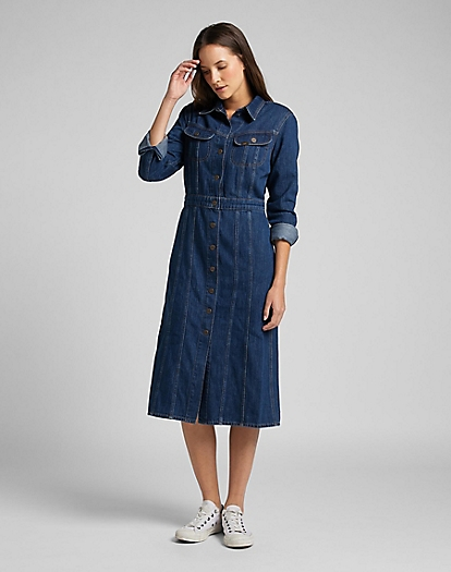 Longsleeve Dress in Rinse