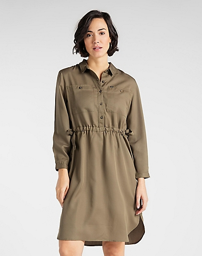 Worker Drapey Dress in Olive Green