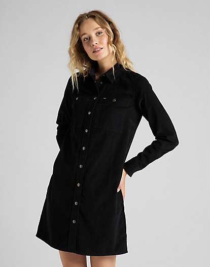 Workshirt Dress Corduroy in Black