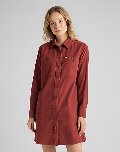 Workshirt Dress Corduroy in Red Ochre