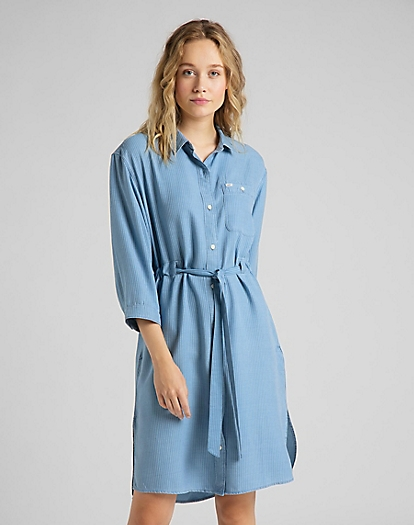 Long Denim Dress in Faded Blue
