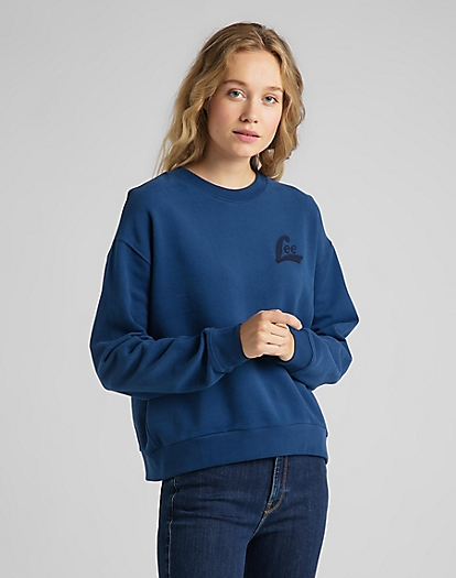 Crew Sweatshirt in Washed Blue
