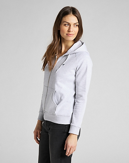 Zip Through Hoodie in Sharp Grey Mele