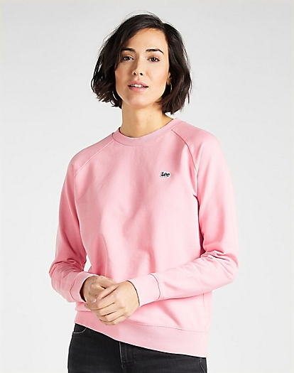 Plain Crew Neck Sweatshirt in La Pink