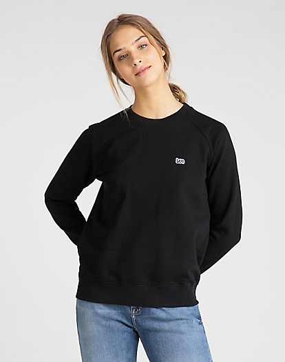 Plain Crew Neck Sweatshirt in Black
