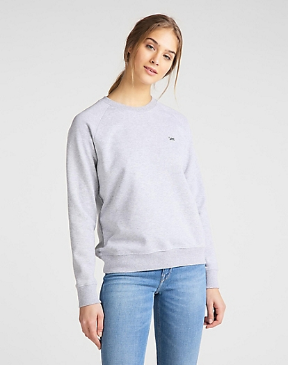 Plain Crew Neck Sweatshirt in Grey Mele
