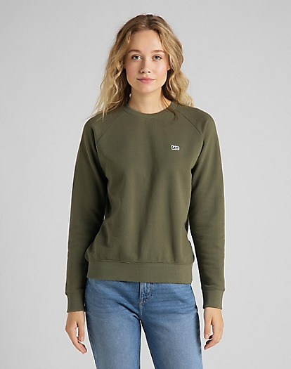 Plain Crew Neck Sweatshirt in Olive Green