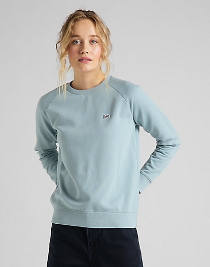 Plain Crew Neck Sweatshirt in Faded Blue