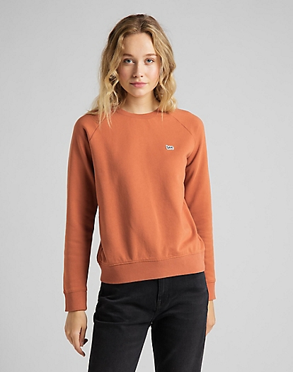 Plain Crew Neck Sweatshirt in Burnt Ocra