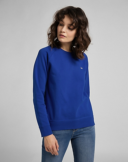 Plain Crew Neck Sweatshirt in Surf Blue