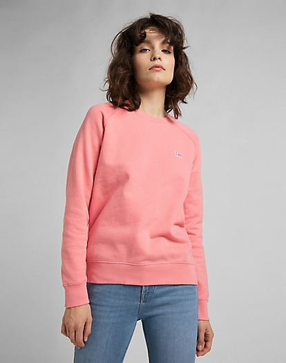Plain Crew Neck Sweatshirt in Cherry Blossom