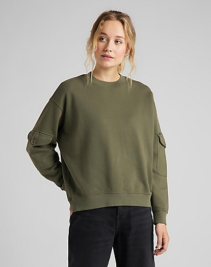 Pocket Sweatshirt in Olive Green