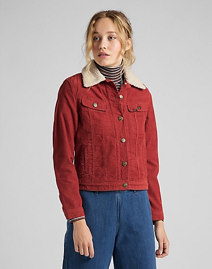 Sherpa Rider Jacket Corduroy in Red Ocre