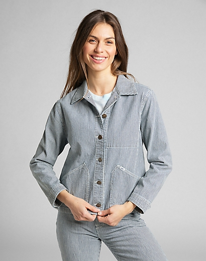 Worker Jacket in Hickory Stripe